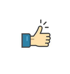 thumb up icon symbol thin line outline vector image