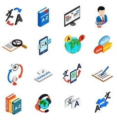 Translator icons set isometric 3d style vector image