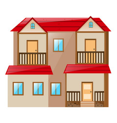 two stories house on white background vector image