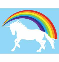 Unicorn with rainbow vector