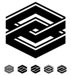 Unity square black white symbols vector