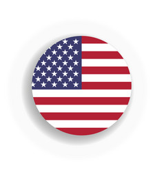 Usa flag int he circle with dropped shadow united vector