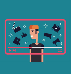 video blogger flat vector image