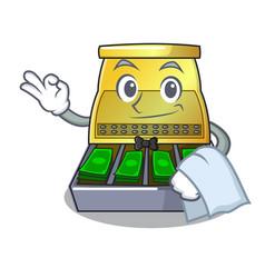 Waiter cash register with lcd display cartoon vector