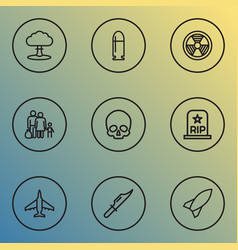warfare icons line style set with bio hazard vector image
