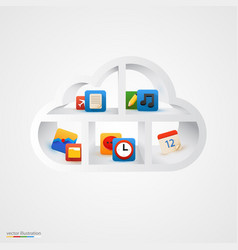 White cloud shelf with icons vector
