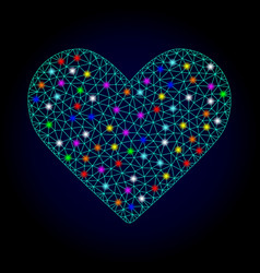 wire frame mesh love heart with light spots vector image