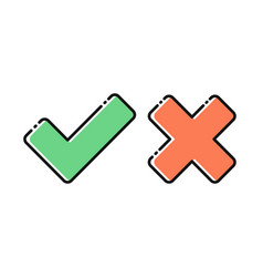 yes and no tick icons vector image