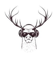 Deer in music headphones vector