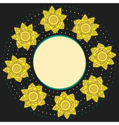 Elegant round frame with yellow narcissuses vector image