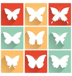 isolated butterflies icons set vector image vector image