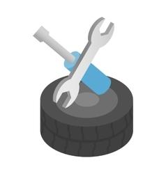 Repair wheels isometric 3d icon vector image