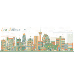 abstract san antonio skyline with color buildings vector image vector image