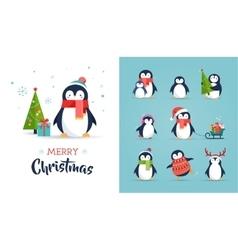 Cute penguins set - Merry Christmas greetings vector image vector image