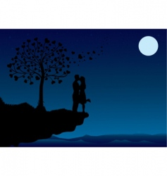 sunset kissing vector image vector image
