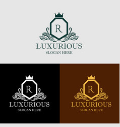 luxurious crest logo vector image vector image
