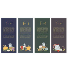 set with tea flyer collection of vertical banner vector image