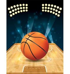 Basketball on hardwood court vector image vector image