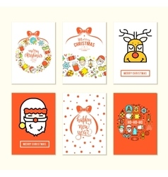 Christmas background set with flat icons vector image vector image