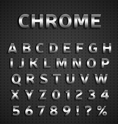 Chrome alphabet set vector image vector image
