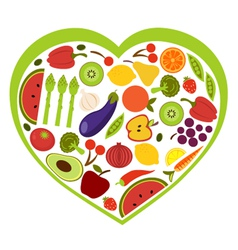 Fruit and vegetables heart shape vector image vector image