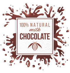 Paper emblem with chocolate splashes vector image