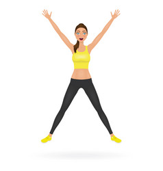 pretty jumping girl in leggings and crop top with vector image
