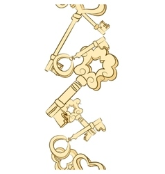 Seamless row of vintage keys vector image