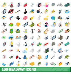 100 headway icons set isometric 3d style vector