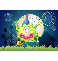 A happy one-eyed monster at the carnival vector