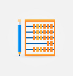 Abacus with pencil flat icon or symbol vector