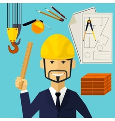 Architect constructor worker at his work place vector