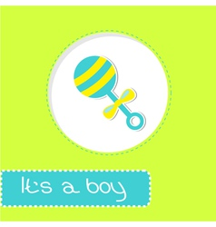 Baby boy rattle Shower card vector image