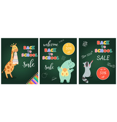 back to school sale banner with cute animals vector image