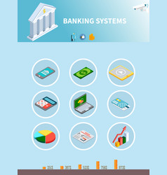 Banking isometric icons background vector