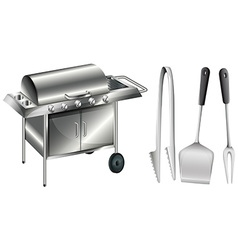 Barbecue stove and different utensils vector image