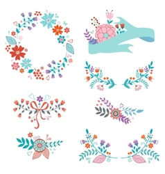 Beautiful collection of floral elements vector
