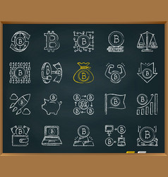 bitcoin chalk draw line icons set vector image