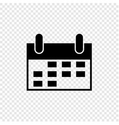 black calendar in flat style on transparent vector image