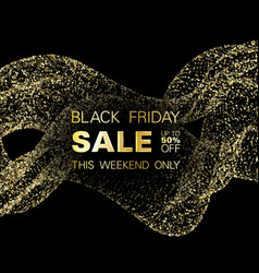 black friday sale discount gold glitter background vector image