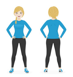 blond woman with a braid playing sport with blue vector image