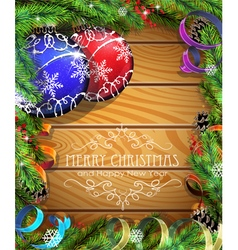 Blue and red Christmas balls on wooden background vector