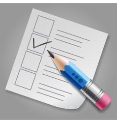 Blue pencil and checklist vector