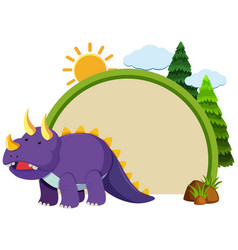 Border template with purple triceratops vector