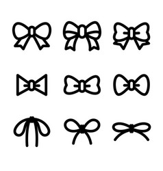 Bows with ribbons set isolated from the vector