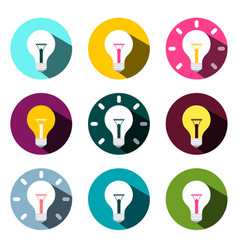 bulb icons set isolated on white background flat vector image