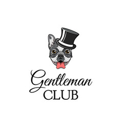 Bulldog wearing in top hat gentleman dog vector