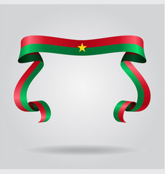 burkina faso flag wavy ribbon background vector image