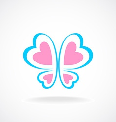 Butterfly logo template Soft colors Heart-shaped vector