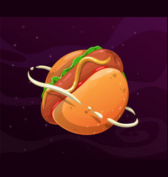 cartoon hotdog planet giant round hot dog in the vector image